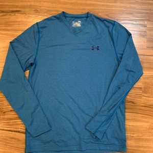Under Armour L Fitted Coldgear Blue Long Sleeve Sh